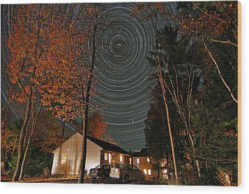 All Night Star Trails Wood Print by Larry Landolfi