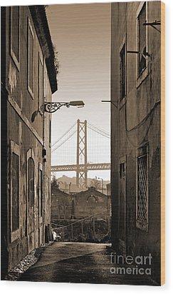 Alley And Bridge Wood Print by Carlos Caetano