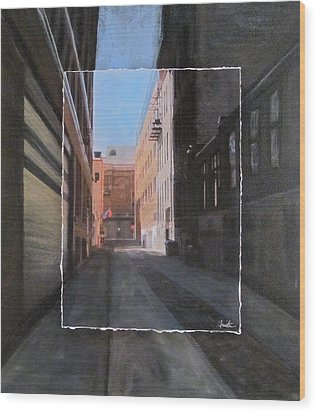 Alley Front Street Layered Wood Print by Anita Burgermeister