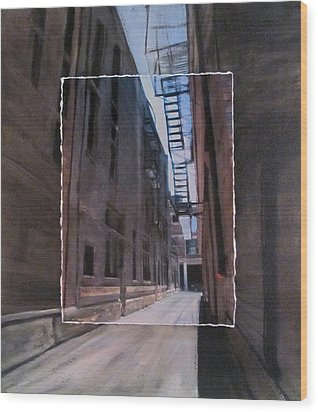Alley With Fire Escape Layered Wood Print by Anita Burgermeister