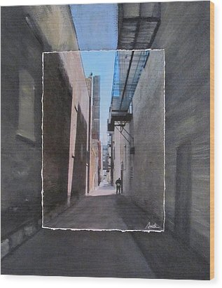 Alley With Guy Reading Layered Wood Print by Anita Burgermeister