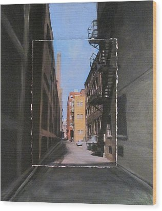 Alley With Red And Tan Buildings Layered Wood Print by Anita Burgermeister