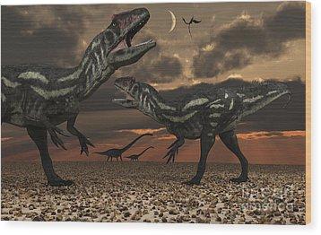 Allosaurus Dinosaurs Stalk Their Next Wood Print by Mark Stevenson