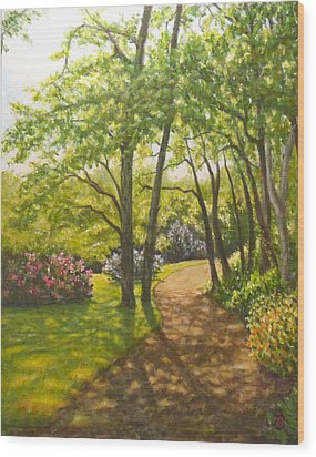 Wood Print featuring the painting Along The Path by Joe Bergholm