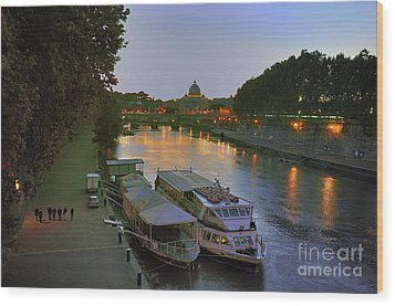 Along The Tiber Wood Print by Ed Rooney