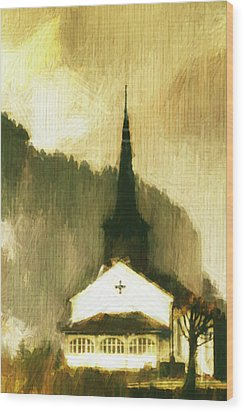 Wood Print featuring the digital art Alpine Church by Andrea Barbieri