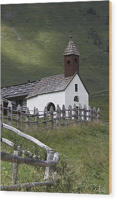 Wood Print featuring the photograph Alpine Church. by Raffaella Lunelli