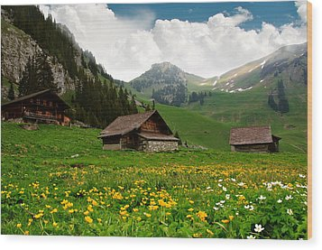 Alpine Huts - Switzerland Wood Print by Kitty Bern