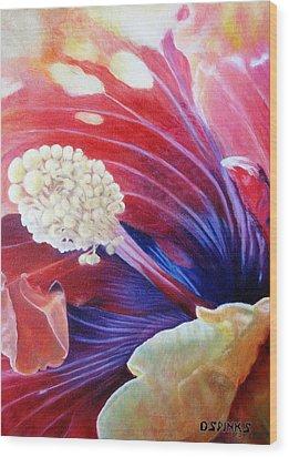 Al's Hibiscus Wood Print by Debra Spinks