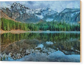 Alta Lakes Reflection Wood Print by Jeff Kolker