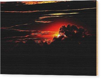 Altered Sunset Wood Print
