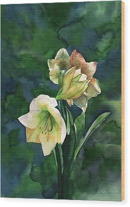 Wood Print featuring the painting Amaryllis by Sharon Mick