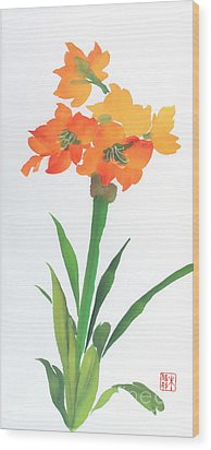 Wood Print featuring the painting Amaryllis by Yolanda Koh