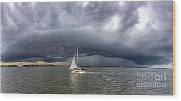 Amazing Storm Clouds And Sailboat Charleston Sc Wood Print by Dustin K Ryan