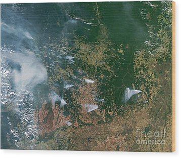 Amazon Basin Forest Fires, Satellite Wood Print by NASA / Science Source