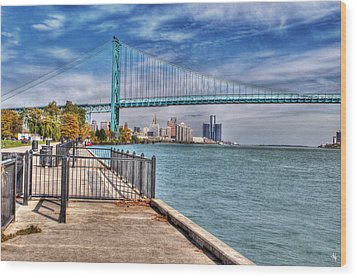 Ambassador Bridge Detroit Mi Wood Print by Nicholas  Grunas