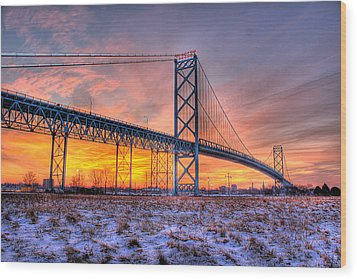 Ambassador Bridge Sunrise 1-16-2012  Detroit Mi Wood Print by Nicholas  Grunas