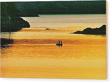 Amber Angling Wood Print by Brent Sisson