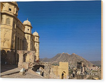 Amber Fort And Blue Sky Wood Print by Inti St. Clair