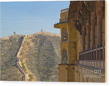 Amber Fort And Wall Wood Print by Inti St. Clair