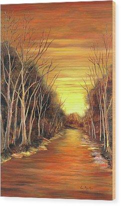 Amber River Wood Print by Vic  Mastis