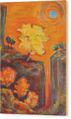 Wood Print featuring the painting Amber Sky Blue Sun by Mary Schiros