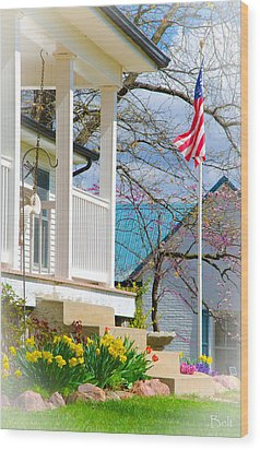 America The Beautiful In Spring Wood Print by Christine Belt
