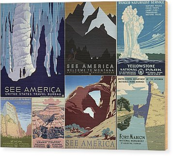 America The Beautiful Vintage Posters Collage Wood Print