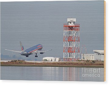 American Airlines Jet Airplane At San Francisco International Airport Sfo . 7d12073 Wood Print by Wingsdomain Art and Photography