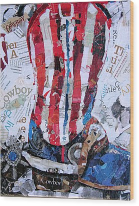 American Boot Wood Print by Suzy Pal Powell