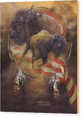 American Buffalo Wood Print by Carol Cavalaris
