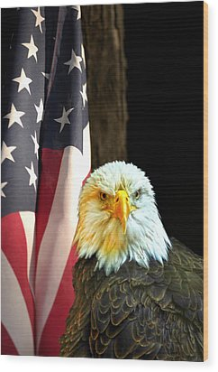 Wood Print featuring the photograph American Eagle And American Flag by Randall Branham