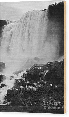 American Falls With Cave Of The Winds Walkway Niagara Falls New York State Usa Wood Print by Joe Fox