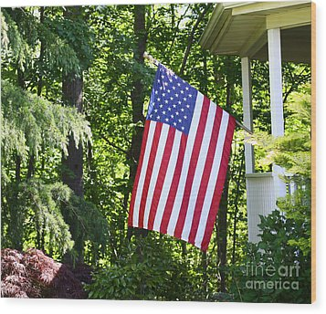 Wood Print featuring the photograph American Flag At Home by Denise Pohl
