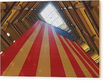 American Flag In Marshall Field's Wood Print by Paul Ge