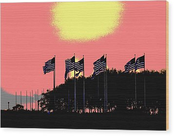 Wood Print featuring the photograph American Flags1 by Zawhaus Photography