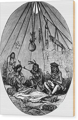 American Indian Medicine Lodge, 1868 Wood Print by Science Source