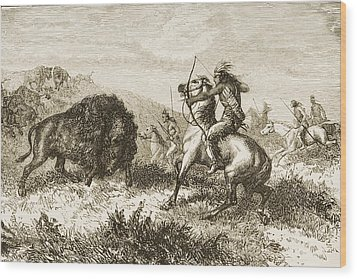 American Indians Buffalo Hunting. From Wood Print by Ken Welsh