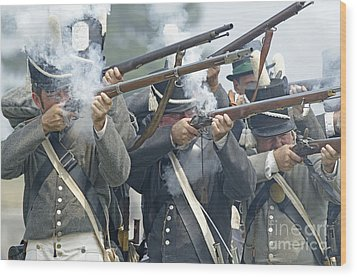 American Infantry Firing Wood Print by JT Lewis