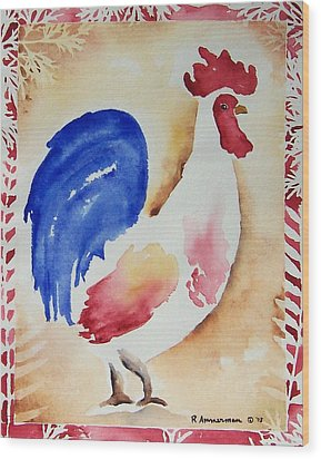 Americana Rooster Wood Print by Regina Ammerman
