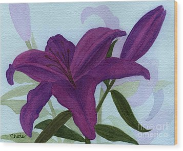 Amethyst Lily Wood Print by Vikki Wicks