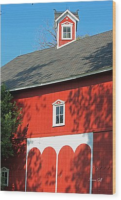 Amish Barn In Shadows Wood Print by Suzanne Gaff