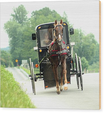 Amish Buggy On The Road Wood Print by Emanuel Tanjala