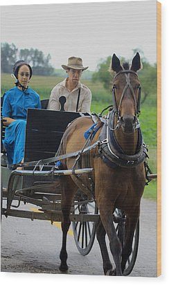 Amish Buggy Ride Wood Print