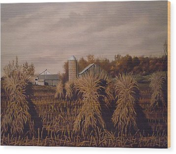 Amish Farm In Autumn Wood Print by James Guentner