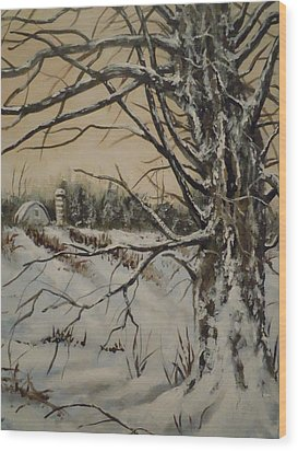 Wood Print featuring the painting Amish Farm In Winter by James Guentner