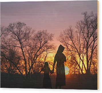 Amish Sisters Wood Print by TnBackroadsPhotos