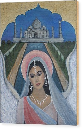 Amishi An Earth Angel Representing A Young Bride On Her Wedding Day Wood Print by The Art With A Heart By Charlotte Phillips