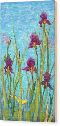 Among The Wild Irises Wood Print by Carla Parris