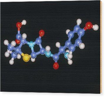 Amoxycillin Drug Molecule Wood Print by Laguna Design